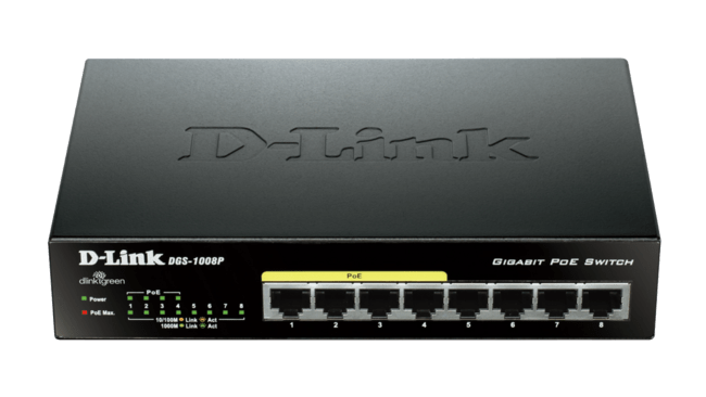 D-Link DGS-1008P - 8 Port Gigabit switch (4xPoE)