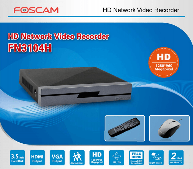 Foscam FN3104H 4channel NVR Incl. 2TB HDD