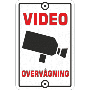 Sign Video surveillance White